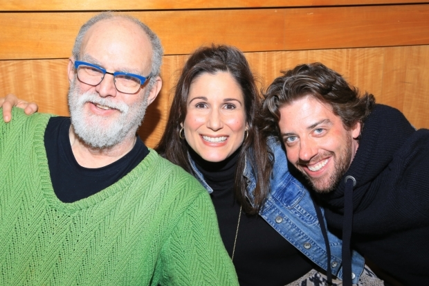 <p>William Finn joins Stephanie J. Block and Christian Borle at the signing table.</p><br />(© Tricia Baron)