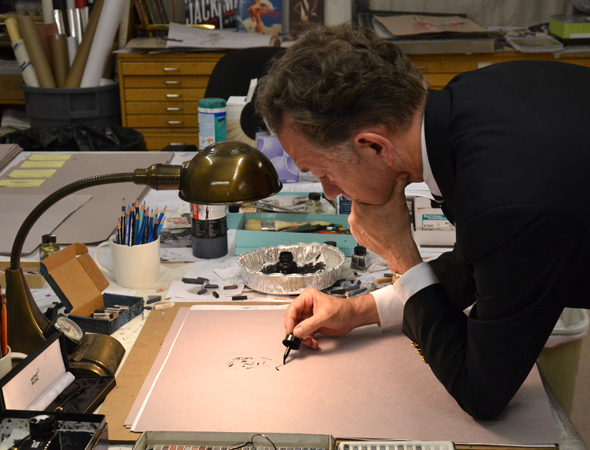<p>William Ivey Long, hard at work on a costume sketch.</p><br />(© David Gordon)