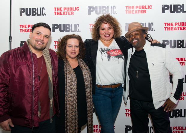 <p>William Ruiz a.k.a Ninja, Mildred Ruiz-Sapp, Liesl Tommy, and Steven Sapp celebrate the opening of <em>Party People</em>.</p><br />(© Allison Stock)