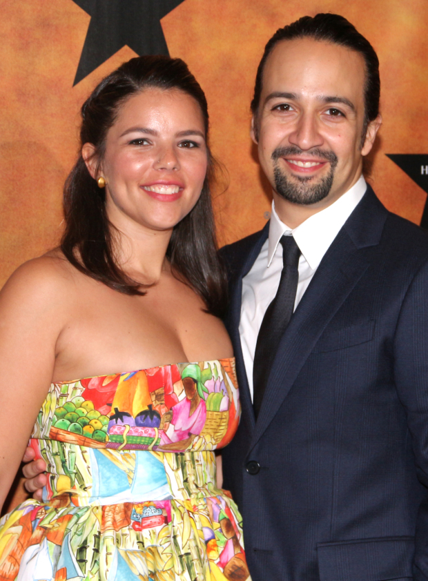 <p>With his wife Vanessa by his side, Lin-Manuel Miranda works the press line at the opening-night party.</p><br />(© David Gordon)