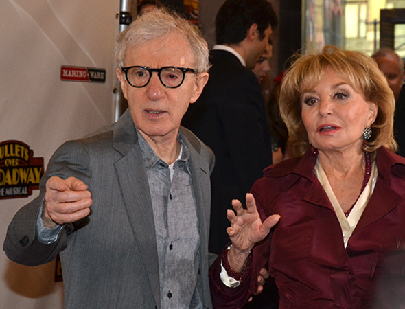 <p>Woody Allen and Barbara Walters get into directing mode on the red carpet.</p><br />(© David Gordon)