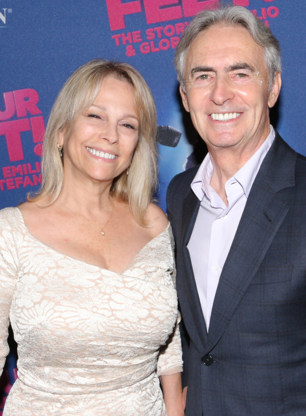 <p>Writer/comedian David Steinberg and his wife, Robyn Steinberg, are on their feet for <em>On Your Feet!</em></p><br />(© David Gordon)
