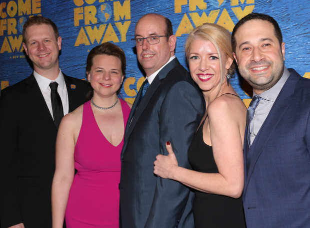 <p>Writers David Hein and Irene Sankoff, director Christopher Ashley, choreographer Kelly Devine, and musical director Ian Eisendrath toast their opening night.</p><br />(© David Gordon)