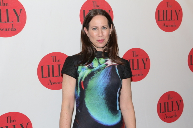 <p><em>Younger</em> star Miriam Shor poses for photos before the Lilly Awards.</p><br />(© David Gordon)