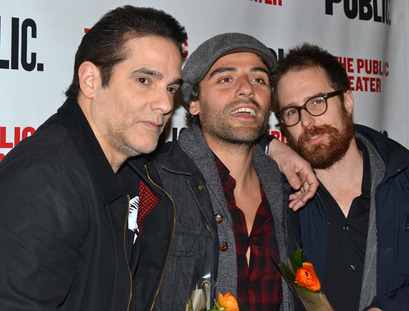 <p>Yul Vazquez, Oscar Isaac, and Sam Rockwell palled around before the show.</p><br />(© David Gordon)