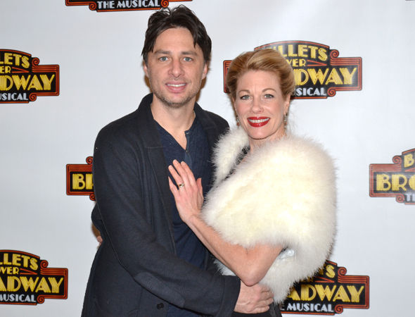 <p>Zach Braff gets close with his leading lady, Marin Mazzie.</p><br />(© David Gordon)