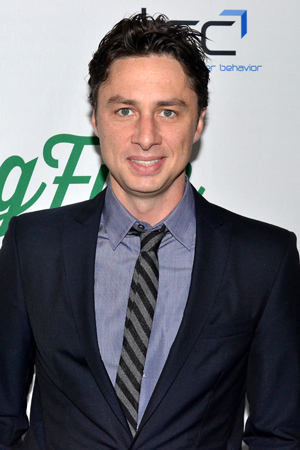 <p>Zach Braff helps support his upcoming <em>Bullets Over Broadway</em> director, Susan Stroman, on her opening night.</p><br />(© David Gordon)