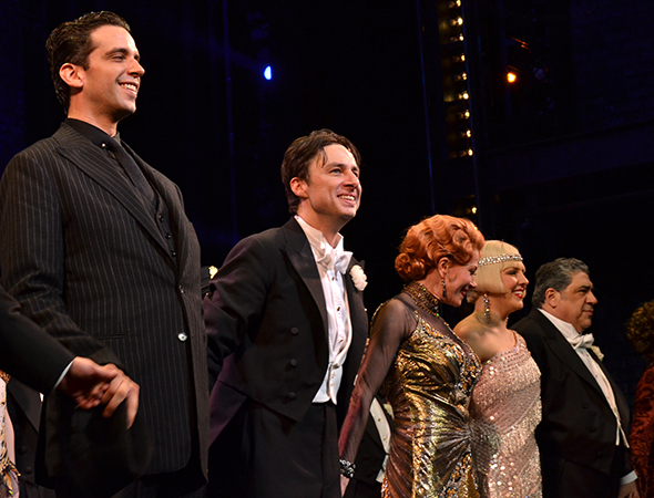 <p>Zach Braff leads the cast of <em>Bullets Over Broadway</em> in a company bow.</p><br />(© David Gordon)
