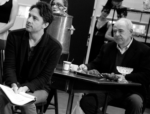 <p>Zach Braff leads the company as beleaguered playwright David Shayne, with Lenny Wolpe (right) as Julian Marx, his producer.</p><br />(© David Gordon)