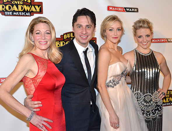 <p>Zach Braff and his ladies: from left, Marin Mazzie, Betsy Wolfe, and Heléne Yorke.</p><br />(© David Gordon)