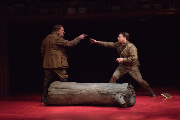 <p>Zach Grenier and Danny Burstein confront each other in a scene from <em>Describe the Night</em>.</p><br />(© Ahron R. Foster)