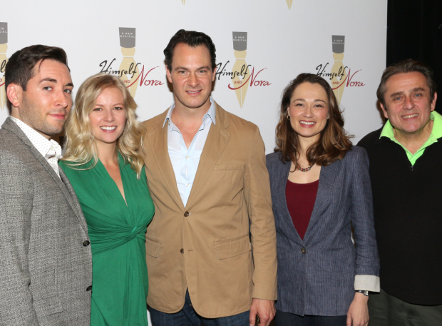 <p>Zachary Prince, Whitney Bashor, Matt Bogart, Lianne Marie Dobbs, and Michael McCormick make up the company of <em>Himself and Nora</em>.</p><br />(© David Gordon