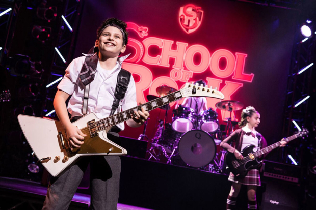 <p>Zachary Zwelling shreds in <em>School of Rock</em>.</p><br />(© Matthew Murphy)