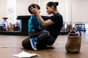Eva Noblezada, Alistair Brammer, and Company Rehearse for Broadway's Miss Saigon