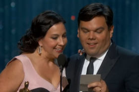 "Flashback Friday: Kristen Anderson-Lopez and Robert Lopez Accept ""Let It Go"" Oscar"