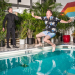 EXCLUSIVE: Michael Urie, Drew Droege Share a Pool Day in Bright Colors Shoot