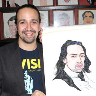 <em>Hamilton</em> Creator Lin-Manuel Miranda Receives Sardi's Portrait