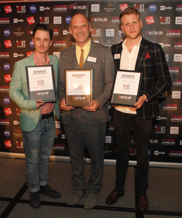 <p> Dickie Beau (best supporting male actor), John Ramm (best male actor) and Joshua Dylan (best supporting male actor)</p><br />© Anthony Ofoegbu