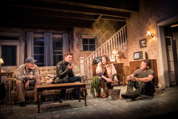 <p>  Ed Harris, Jeremy Irvine, Charlotte Hope &amp&#x3B; Barnaby Kay in Buried in <em>Buried Child</em></p><br />© Johan Persson
