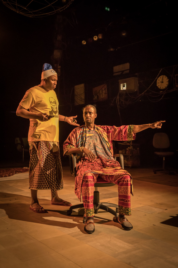 <p> Patrice Naiambana (Tokunbo) and Peter Bankolé (Olawale) in <em>Barber Shop Chronicles</em></p><br />© Marc Brenner
