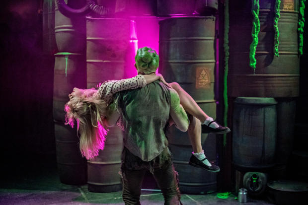 <p>Mark Anderson as Toxie and Hannah Grover as Sarah</p><br />© Claire Bilyard