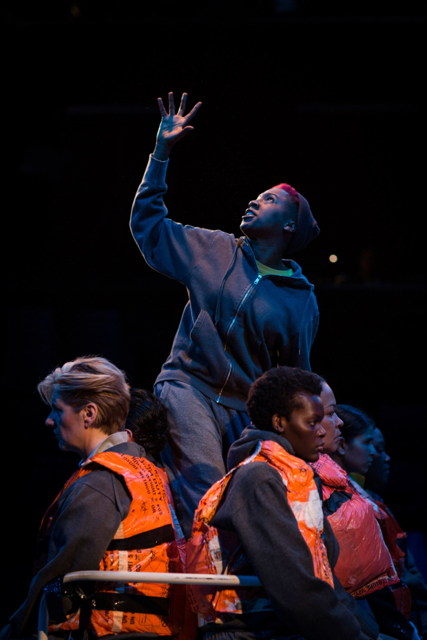 <p>Jade Anouka (Ariel) and Company in <em>The Tempest </em></p><br />© Helen Maybanks