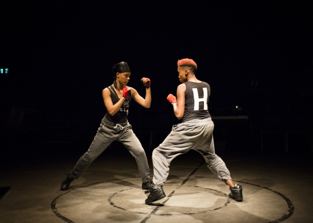 <p>Leah Harvey (The Douglas) and Jade Anouka (Hotspur) in <em>Henry IV</em></p><br />© Helen Maybanks