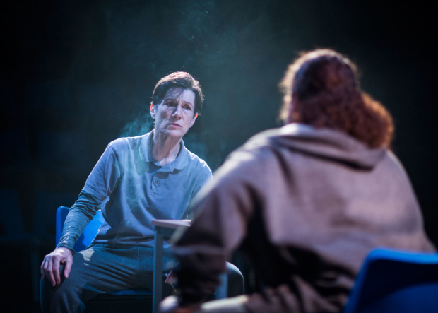 <p>Harriet Walter (Brutus) in <em>Julius Caesar </em></p><br />© Helen Maybanks