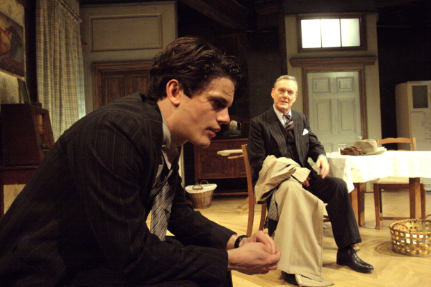 <p>Edward Bluemel (Michael Brown), Anthony Head (Sir John Fletcher) in <em>Love in Idleness</em></p><br />© Catherine Ashmore
