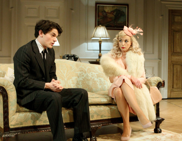 <p>Edward Bluemel (Michael Brown), Helen George (Diana Fletcher) in <em>Love in Idleness</em></p><br />© Catherine Ashmore