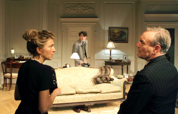 <p>Foreground - Eve Best (Olivia Brown), Anthony Head (Sir John Fletcher)&#x3B; Background Edward Bluemel (Michael Brown) in <em>Love in Idleness</em></p><br />© Catherine Ashmore
