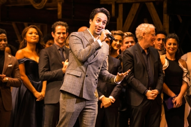 <p>Lin Manuel Miranda at the curtain call</p><br />© Dan Wooller for WhatsOnStage