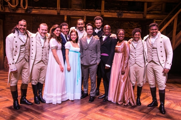 <p>Lin-Manuel Miranda (author/music/lyrics) and members of the cast backstage</p><br />© Dan Wooller for WhatsOnStage