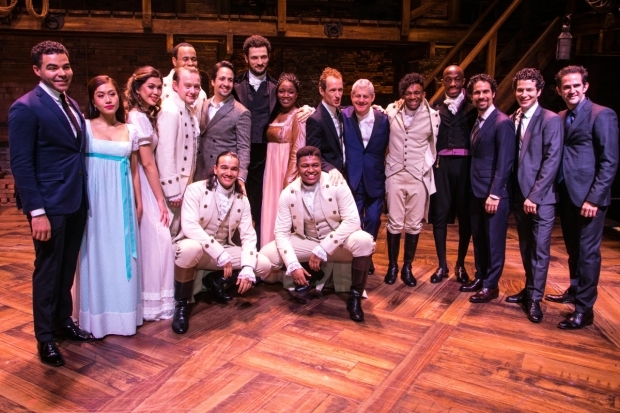 <p>Lin-Manuel Miranda (author/music/lyrics) and members of the cast and creative backstage</p><br />© Dan Wooller for WhatsOnStage