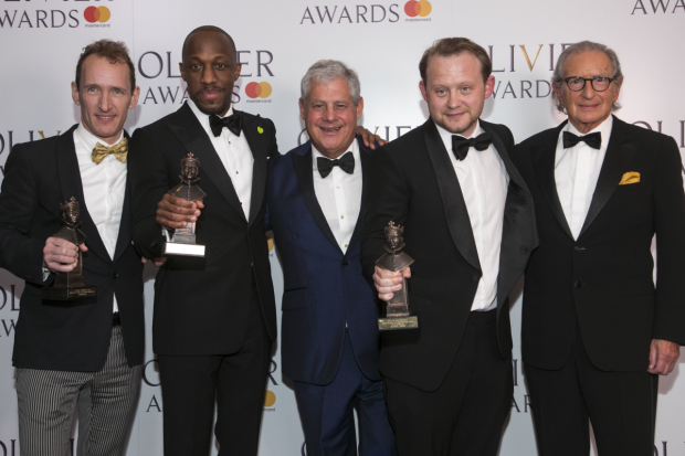 <p>Jeffrey Seller, Giles Terera accepts the Award for Best Actor in a Musical, Cameron Mackintosh, Michael Jibson accepts the Award for Best Actor in a Supporting Role in a Musical and Sander Jacobs</p><br />© Dan Wooller