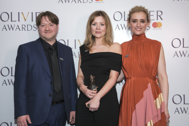 <p>Gary Owen and Rachel O&#39&#x3B;Riordan accept the award for Outstanding Achievement in an Affiliate Theatre, presented by Anne-Marie Duff</p><br />© Dan Wooller