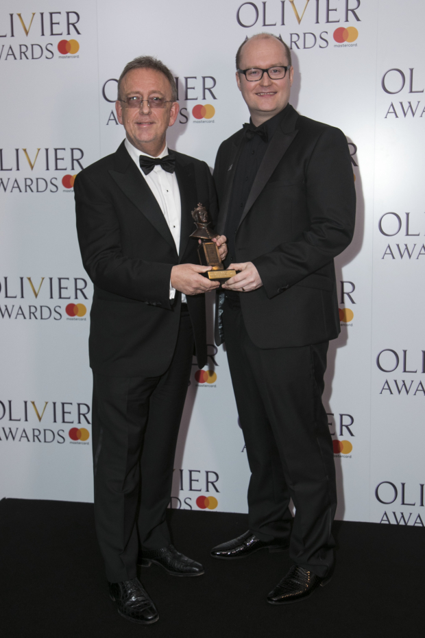 <p>Nick Thomas and Michael Harrison accept the Award for Best Entertainment and Family</p><br />© Dan Wooller