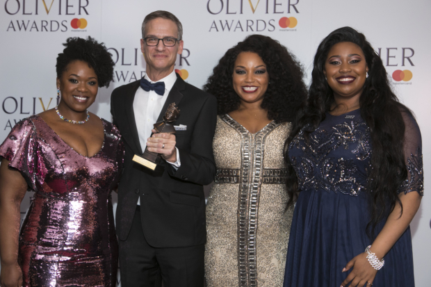<p>Nevin Steinberg accepts the Award for Best Sound Design, presented by Moya Angela, Marisha Wallace and Karen Mav</p><br />© Dan Wooller