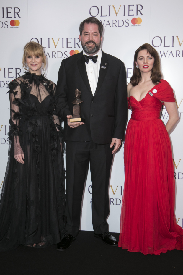 <p>Hannah Arterton, Benjamin Pearcy (of 59 Productions collectin Best Set Design on behalf of Bob Crowley) and Ophelia Lovibond</p><br />© Dan Wooller