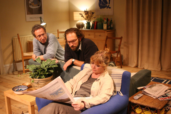 <p>2005: Allan Corduner, Ben Caplan and Caroline Gruber in <em>Two Thousand Years</em></p><br />© John Haynes