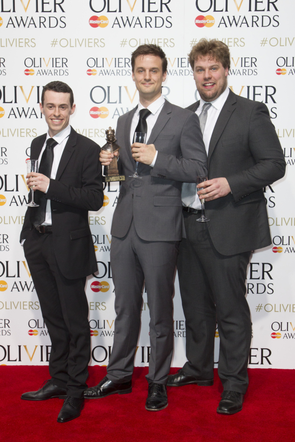 <p>Best New Comedy <em>The Play That Goes Wrong</em> writers Jonathan Sayer, Henry Shields and Henry Lewis</p><br />© Dan Wooller