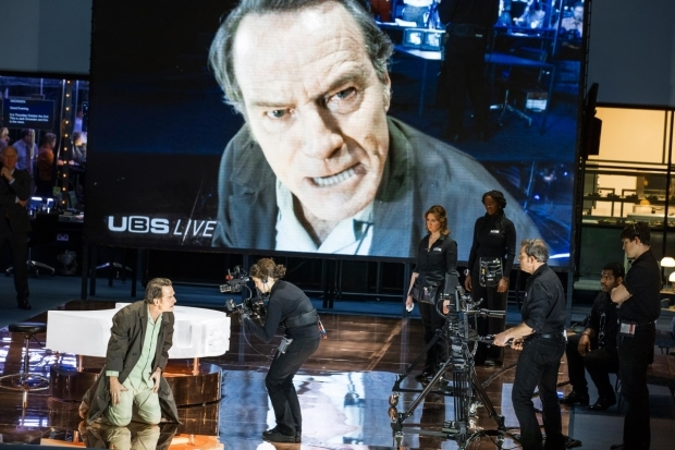 <p>A scene from <em>Network</em> with Bryan Cranston on screen</p><br />© Jan Versweyveld