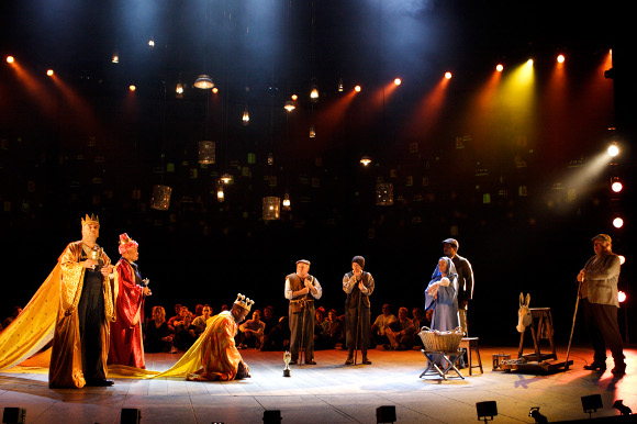 <p>A scene from <em>The Mysteries</em>: medieval mystery plays in a version by Tony Harrison (originally performed at the NT in 1985 and revived in 1999) with Lucian Msamati, Aaron Neil, Junix Inocian, Anthony O&#39&#x3B;Donnell, Richard Ridings, Michelle Terry, Edward Baruwa and Lyndsey Marshal</p><br />© Catherine Ashmore