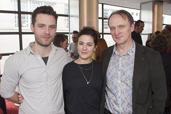 <p><em>A View from the Bridge</em> cast members Luke Norris, Phoebe Fox and Michael Gould</p><br />Dan Wooller for WhatsOnStage