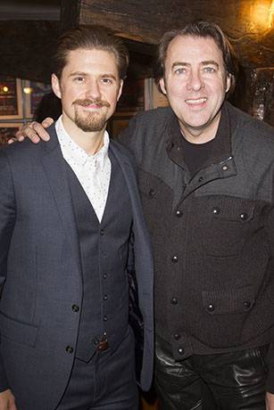 <p>Aaron Tveit (John Wilkes Booth) and Jonathan Ross</p><br />© Dan Wooller for WhatsOnStage
