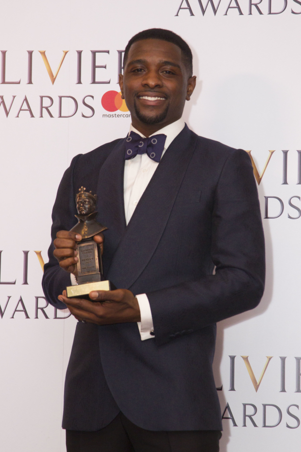 <p>Adam J Bernard with the award for Best Actor in a Supporting Role in a Musical for <em>Dreamgirls</em> at Savoy Theatre</p><br />© Dan Wooller for WhatsOnStage