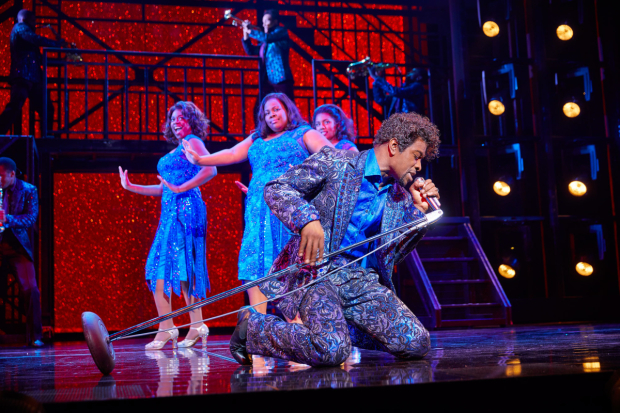 <p>Adam J. Bernard and (l-r) Ibinabo Jack, Amber Riley and Liisi LaFontaine in <em>Dreamgirls</em></p><br />© Brinkhoff - Moegenburg