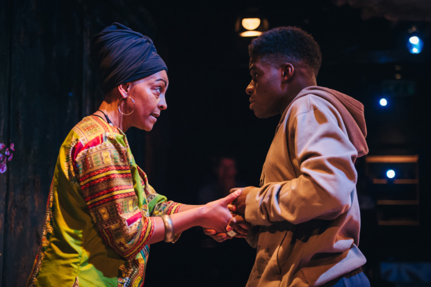 <p>Adjoa Andoh (Assata) and Kenneth Omole (Fanuco) in <em>Assata Taught Me</em></p><br />© Ikin Yum Photography