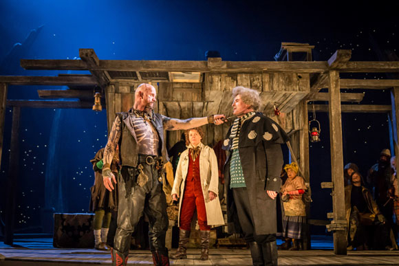 <p>Aidan Kelly (Bill Bones), Helena Lymbery (Dr Livesey) and Nick Fletcher (Squire Trelawney)</p><br />© Johan Persson