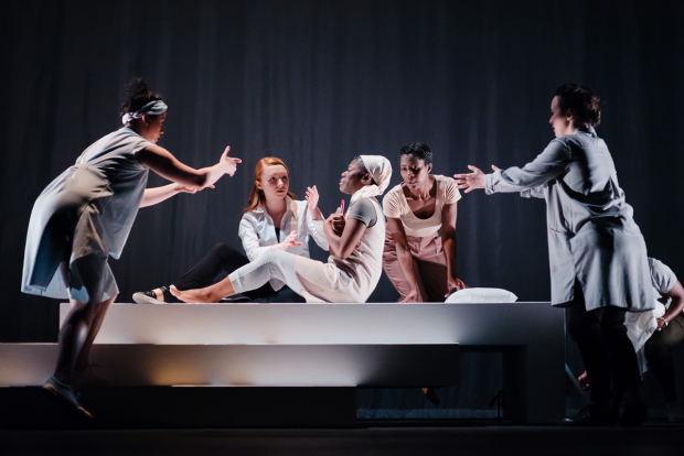 <p>Akiya Henry (centre as Medea, Maddy) and company</p><br />© Jack Offord